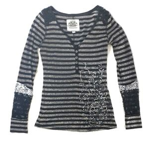 Maurices Premium Embellished Striped Henley